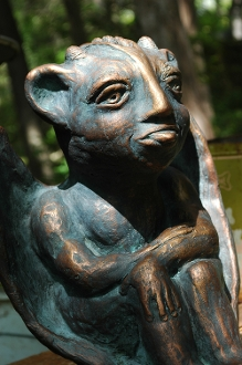 Garden gargoyle cement statue hand finished in aged bronzed